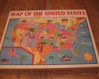 """Vintage Map of the United States Puzzle 14"""" X 20"""""""