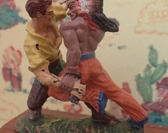 Wild West Elastolin toy figurine (1940/50's) wrestle between Cowboy and American Indian