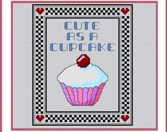 Cute a s a cupcake, cross stitch design, Digital download
