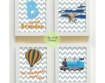 Oh, the Places You'll Go Nursery Art Baby Nursery Room Decor, Personalized Wall Art,set of 4 Dr Seuss Inspired Transportation Art, Airplane