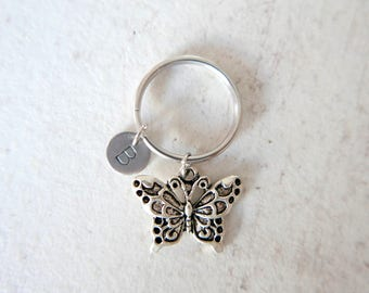 Butterfly Keychain, Butterfly  Keyring, initial Keychain, stainless steel Keyring,