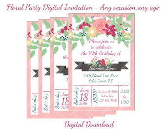 Spring Floral Digital Party Invitation for Birthdays, Baby Showers, Bridal Showers, Weddings, Thank You Cards, Any Age, YOU PRINT