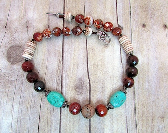 Fire Agate and Carnelian Necklace