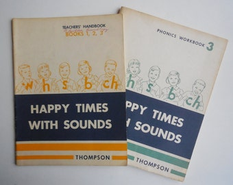 1964 Happy Times With Sounds Phonics Workbook 3 with Teachers Handbook