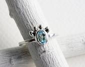 Small Giraffe Sky Blue Topaz Ring,Sterling Silver Giraffe Ring,Giraffe Fine Jewelry,MADE TO ORDER