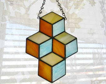 Stacked Boxes Stained Glass Suncatcher in Turquoise, Tan, and Cream - Ready to Ship