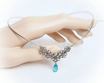 Elven TIARA made with Sterling silver with swarovski elements crystal.