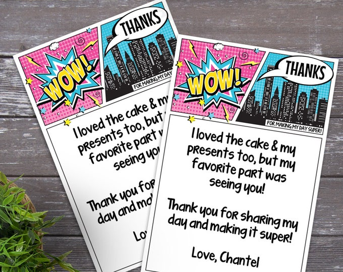Supergirl Thank You Card - Superhero Birthday, Comic Book Thank You Note, Self-Editing   DIY Editable Text INSTANT DOWNLOAD Printable