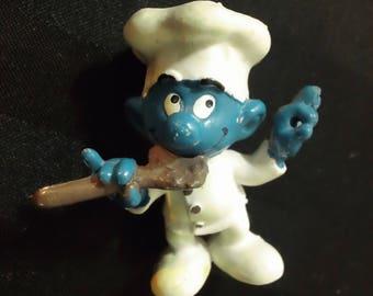Chef Smurf ~ Vintage 1979 Scleich Peyo PVC Smurf Figure ~ Retro Collectible Toy Figurine