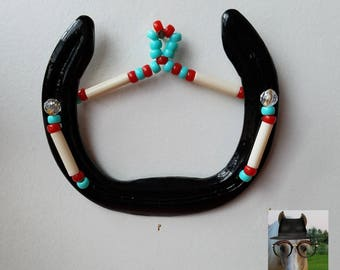 Black red and turquoise horse shoe Western decor