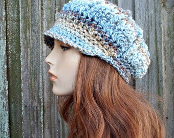 Beachside Blue and Cream Womens Newsboy Womens Hat - Spring Monarch Ribbed Crochet Newsboy Hat Crochet Hat - READY TO SHIP