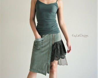 Military skirt / asymmetrical skirt / mini skirt / lace skirt / tattered skirt / army green skirt / military twill skirt - KS106
