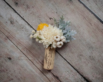 Wine Cork Boutonniere - Ivory Pom and Craspedia Boutonniere with Dusty Miller