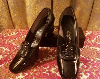 Vintage 1960's Black Patent Leather Shoes Heels Size 6 6.5, Socialites