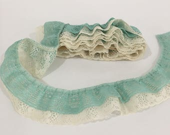 Ruffle Lace Trim, Aqua & Cream Double Ruffle Lace Trim, Sewing Crafting Supplies
