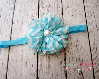 Chevron Headband Turquoise Blue & White Skinny Band- Newborn Infant Baby Toddler Girls Adult