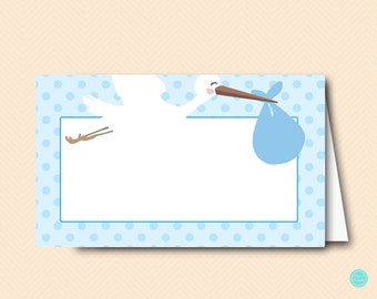Blue Stork Baby Shower Labels Cards, Stork Baby Shower Decorations, Tent Style, Decoration, Food Labels, Baby Shower Labels TLC458b