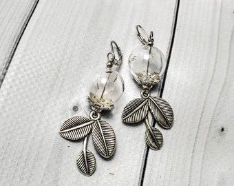 Dandelion jewelry Real dandelion Terrarium jewelry Botanical earrings Flower earrings Nature earrings Glass vial Wish jewelry Dandelion seed