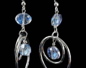 Sparkling earrings, iridescent glass beads, rhodium metal rings