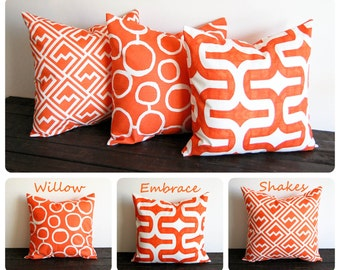 You choose Orange pillow cover One cushion cover Tangelo tangerine orange throw pillow