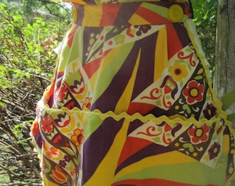 Vintage Apron Mod Orange and Purple