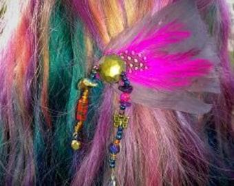 Purple Feather Barrette