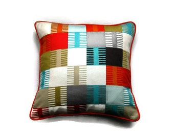 Scion Fabrics Navajo, orange, blue, gray and olive cotton, geometric squares, cushion cover, throw pillow cover, homeware decor.