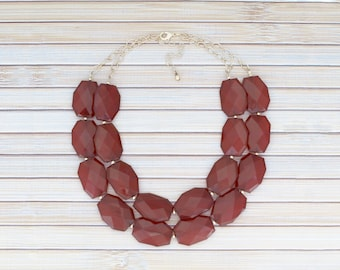 Red Chunky Necklace, Burgundy Statement Necklace, Oxblood Red & Gold Beaded Necklace, Layered Bib Collar Necklace, Winter Fashion Jewelry