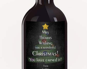 Chalkboard Christmas Tree Personalised Christmas Wine Label