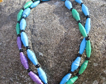 Land and Water paper bead necklace