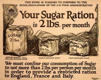 """Vintage Giclée Reproduction WWI Era Poster  """"Your Sugar Ration"""" -  c1917"""