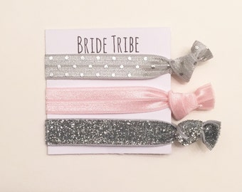 Bridesmaid hair tie favors//bridetribe grey dot ballerina pink thick sliver//hair tie card//party favor//bridesmaid gift