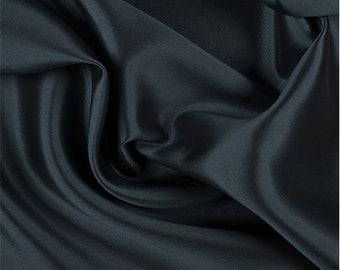 Teal/Black Silk/Wool Gab, Fabric By The Yard