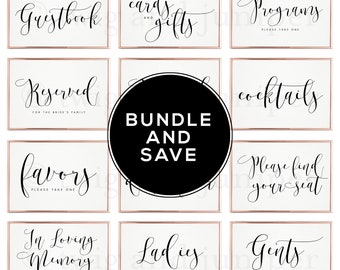 Wedding Sign Template Bundle - Wedding Signs - Guestbook Sign - Favor Sign - Cards and Gifts - Reserved Sign