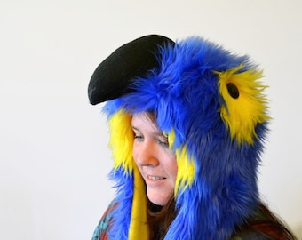 Hyacinth Macaw Scoodie. Spirit Hood. Parrot Costume. Bird Hat.