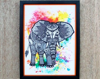 Digital print wall art, elephant print, doodle, laminated, 8X11 inches