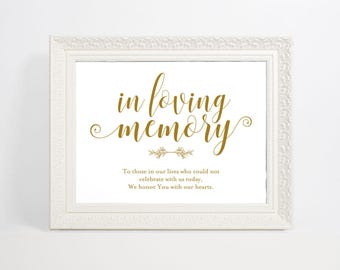 Gold In Loving Memory Sign, Wedding Sign, In Memory Sign, Memory Sign, Wedding Printable, Memorial Table Sign, WPC_900