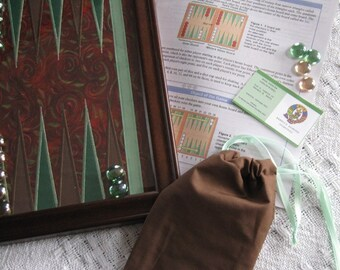 CUSTOM Backgammon Game Board Applique in Frame