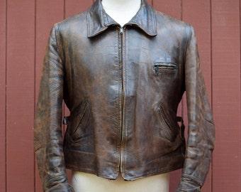 40s Horsehide Belted Back Buckle Strap Jacket Large