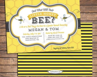 Bee Gender Reveal, Bee Gender Reveal Invitation, Gender Reveal Party, What will it Bee Invites, Bee Baby Reveal Invite, Printable Invitation
