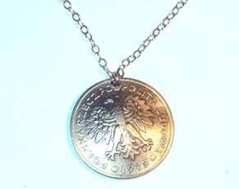 Gorgeus Polish Eagle coin necklace-nicely domed-free shipping