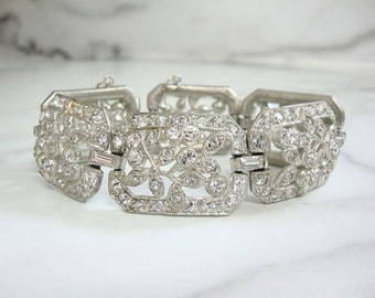 Antique Art Nouveau Bracelet, 1910 Fine Vintage Rhinestone Jewelry, Statement Rhinestone Wedding Jewelry, Rhinestone Cuff