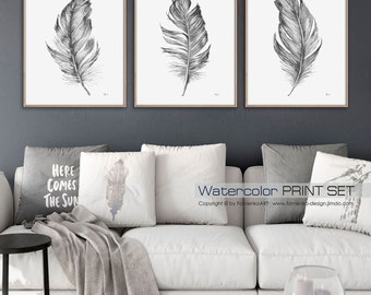 Boho Feathers Watercolor painting Large Wall art Prints Wall decor Living room Watercolor print wall art set of 3 FomArt Black and white