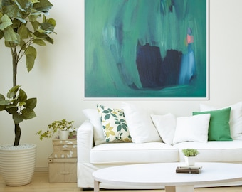 "GICLEE print, GREEN abstract print of painting with navy, blue, Modern painting print ""Dressing Table Pot"""