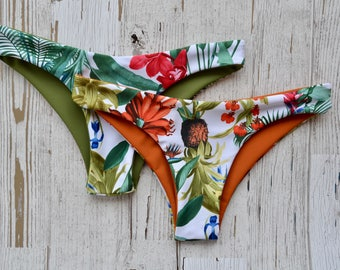 Cheeky Mid Coverage Burnt Orange Rust/Olive Tropical White pineapple palm tree palm leaf print Reversible Swimsuit Bottoms Womens Swimwear