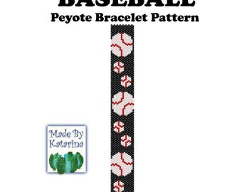 Peyote Pattern - Baseball - INSTANT DOWNLOAD PDF - One Drop Evene Peyote -  Baseball Pattern - Peyote Baseball Bracelet Tutorial