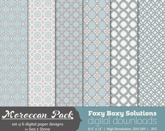 Moroccan Pattern Digital Papers - Sea & Stone, set of 6 - Printable Instant Download Digital Paper Pack - Blue - Gray