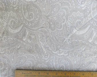Fabric 3 Yards 14 inches Shades of Gray Cream Paisley Michele D'Amore Benartex Cotton Quilting Sewing