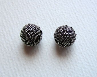 2 Bali Sterling Silver Granulated Round 10mm Beads