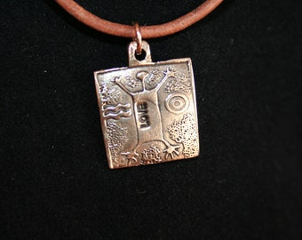 Man Jumping for Love -- Bronze Pendant